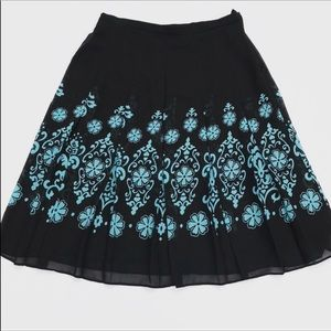 Skirts - Beautiful Pleated Skirt Black With Turquoise